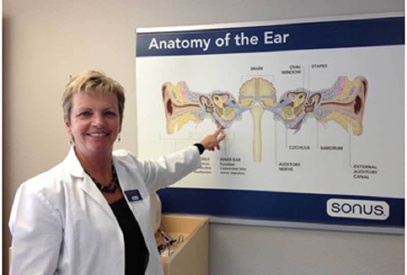 by: COURTESY OF KIM DOTSON - TESTING IS ONE KEY STEP â€' Kim Doson, doctor of audiology, points to a chart of the human ear and all the places where things can go wrong to cause hearing loss.