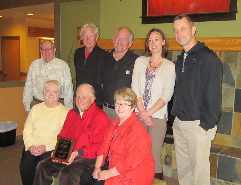 by: BARBARA SHERMAN - A WINNING TEAM - Hard-working SCA staff and board members include (front row from left) Board of Directors Vice President Barbara Stayton; President Rod Sacconaghi, and Diane Ragsdale, SCA bookkeeper/receptionist; and (back row from left) board Treasurer Jack Auerbach; board Director Glenn Jay; Rick Sullivan, golf course superintendent; Cari Froeber, SCA administrator; and Rob Lindsey, golf pro.