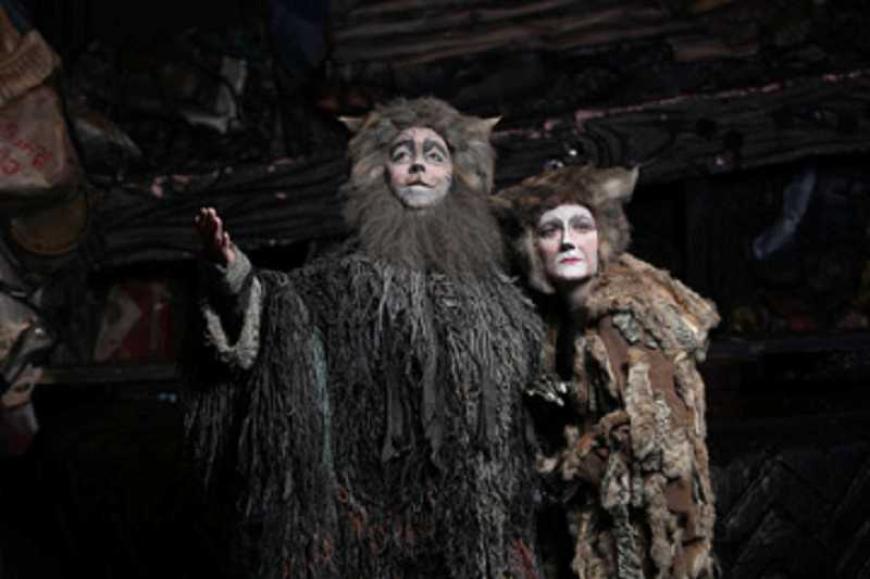 by: CRAIG MITCHELLDYER/BROADWAY ROSE THEATRE COMPANY - REMEMBERING BETTER TIMES -In Broadway Rose Theatre Company's production of 'CATS,' Bobby Jackson (left) plays Old Deuteronomy while Amy Jo Halliday is Grizabella, an aging cat trying to get back in the good graces of her former tribe.