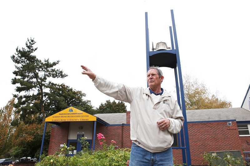 by: JAIME VALDEZ - Bob Day, who attended Garden Home School, points to the south side of the Garden Home Recreation Center, where the original school stood before it was demolished.