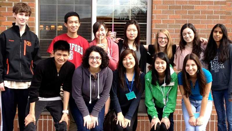 by: SUBMITTED PHOTO  - The 2011-2012 West Linn High School Model United Nations Club won two awards at the conference last year. Hunter Bosson is shown on the top left and Kim Tran is in the jacket on the bottom right.