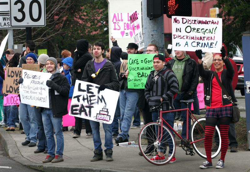 by: OUTLOOK PHOTO: JIM CLARK - Supporters of same-sex marriage demonstrate near Sweet Cakes by Melissa on Saturday, Feb. 8.