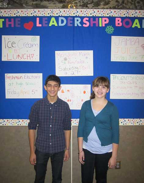 by: BARBARA SHERMAN - A GOOD CAUSE - Laurel Ridge Middle School eighth-graders Arjun Vijay (left) and Delaney Palmer are two of six leadership class students planning the April 27 Mosquito March 5K Walk/Run to raise money for Medical Teams International to purchase mosquito nets for African families to prevent malaria.