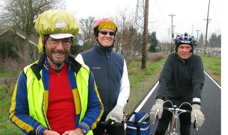 by: PHOTO BY: RAYMOND RENDLEMAN - Greg Krolicki, who is blind, shares a tandem bike with with Jack Newlevant. Bill Wayne joins them along the Springwater Corridor for most of their year-round Thursday rides that have covered thousands of miles over the past few years.