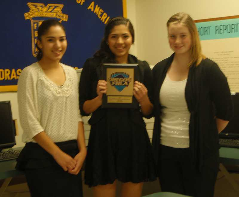 by: SUBMITTED - FBLA members Melissa Olivera, left, Stephanie Olivera, and Jenni Young competed at state.