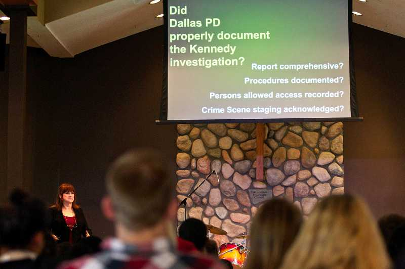 by: TIMES PHOTO: JAIME VALDEZ  - Three hundred Westview High School students listen to author and retired crime scene investigator Sherry P. Fiester present her forensic findings about the assassination of President John F. Kennedy at Rock Creek Church last Wednesday.