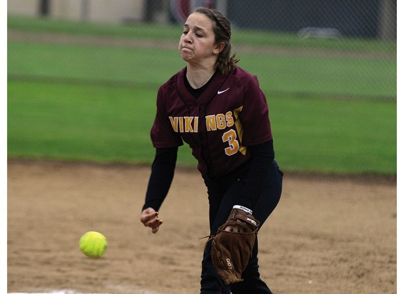 by: NEWS-TIMES PHOTO: CHASE ALLGOOD - Forest Grove sophomore Emily Peters delivers a pitch during the Lady Vikings' Pacific Conference softball game against Glencoe last Friday. Forest Grove lost 8-1 but bounced back on Monday with a crucial 1-0 victory over Newberg.