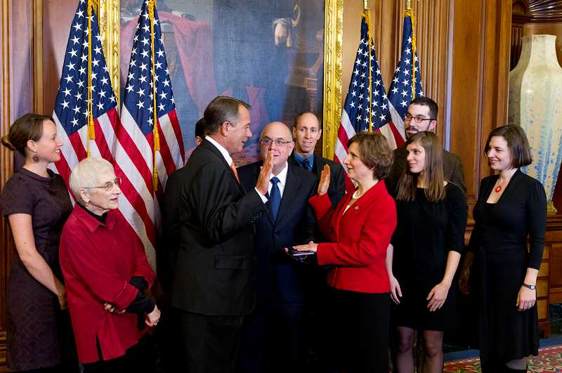 by: COURTESY OF SUZANNE BONAMICI STAFF - Suzanne Bonamici sworn in by Speaker of the House John Buehner after her 2012 election to Congress. Bonamici had a major turning point in her life when she decided to run for public office after years as a stay-at-home mother and education advocate