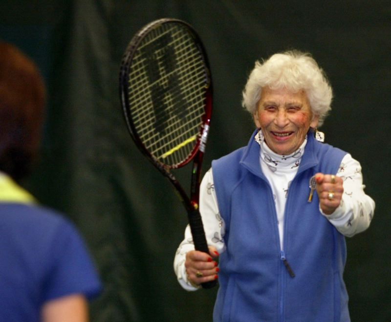 by: TRIBUNE FILE PHOTO: L.E. BASKOW - Eleanore Rubinstein reigned as a 90s-division tennis champ, as featured by the Portland Tribune in 2004, and still basks in life - including vacations in Palm Desert, Calif. - with her 100th coming up April 23.