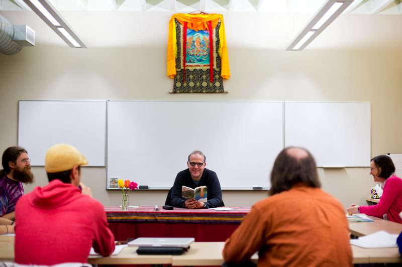 by: TRIBUNE PHOTO: CHRISTOPHER ONSTOTT -  Jim Blumenthal teaches a class titled Engaged Buddhism at Maitripa College in Southeast Portland. The school offers a masters of arts in Buddhist Studies and a Master of Divinity degree. Blumenthal also teaches in the school of history, philosophy and religion at Oregon State University.