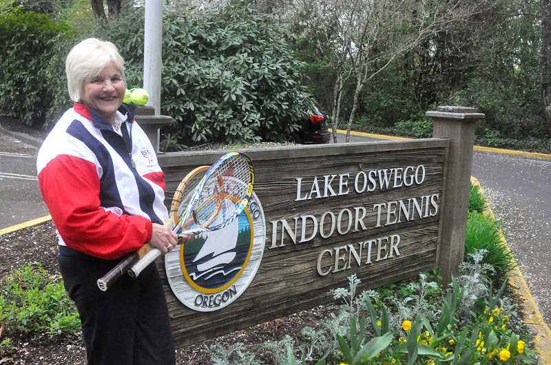 by: MATT SHERMAN - Anni Miller stands outside the Lake Oswego Indoor Tennis Center, her home away from home for 28 years.