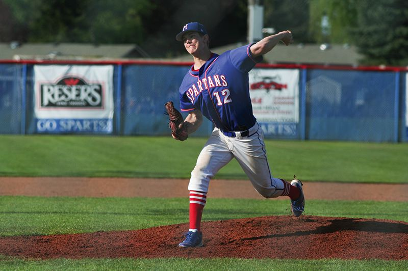 by: HILLSBORO TRIBUNE PHOTO: AMANDA MILES - Hillsboro junior lefthander Chase Kaplan delivers a pitch during last Friday's Pacific Conference baseball game against Tualatin.