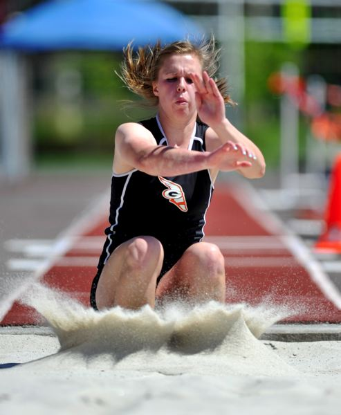 by: JOHN LARIVIERE - Gladstone senior Madison Cronin leaped a Class 4A states best 35-8-1/4 in the triple jump at Saturdays Dick Baker Invitational. The mark was a personal record by close to a foot.