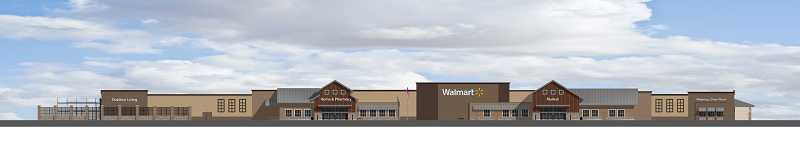 This architectural rendering shows what the new Sherwood Walmart, scheduled to open sometime in 2014, will look like. The store is less than 8 miles from a slightly smaller supercenter slated to open in Tigard at around the same time.