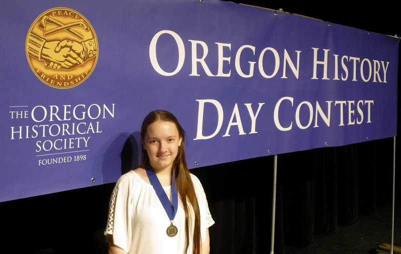 by: SUBMITTED - As Oregon's state winner, Madras eighth-grader Carly Breach will head to the National History Day competition in Washington, D.C. this summer.