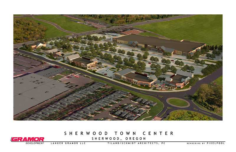 by: COURTESY OF GRAMOR DEVELOPMENT - Here's an aerial view of how the Sherwood Town Center will look like. The roundabout in the foreground is Century Drive and Langer Farms Parkway. The northeast corner of the complex will contain a water feature and an outdoor plaza is planned as well.