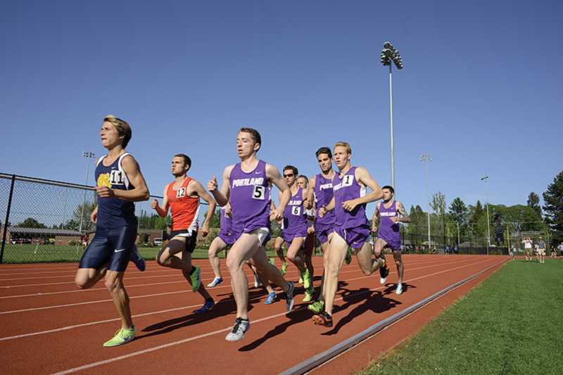 by: NEWS-TIMES PHOTO: CHASE ALLGOOD - Runners compete in the 1,500 meters at last week's Pacific Twilight meet at Lincoln Park Stadium, site of the Big Sky Conference outdoor track and field championships this week.