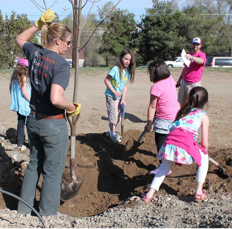 by: HOLLY M. GILL - Becky Burchell, of the Madras Urban Forestry Commission, left, and Joe McHaney, director of the Kids Club, supervise kids planting trees along a segment of the Willow Creek Trail on April 26, for Arbor Day. The kids helped plant 10 trees near the base of the trail across Highway 361 from the Madras Bike and Skate Park.