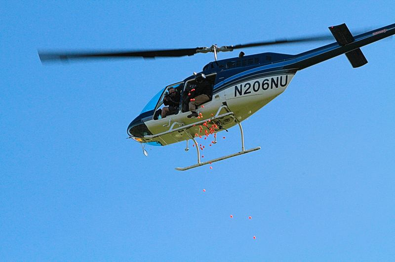 by: DAVID F. ASHTON - The first of thousands of plastic eggs start to fall from the helicopter.