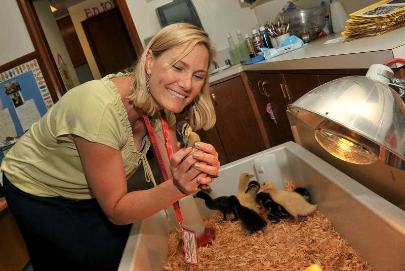 by: REVIEW PHOTO: VERN UYETAKE - Alison Tinger, Forest Hills kindergarten teacher, holds one of the ducklings that hatched in her kindergarten classroom.