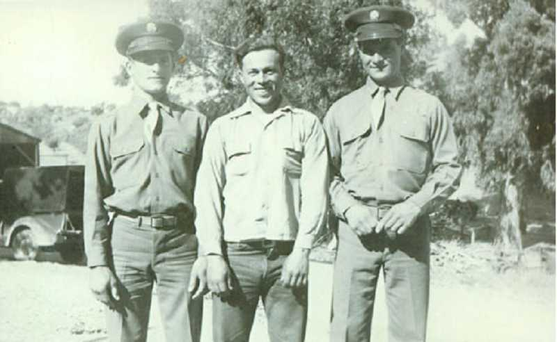 Bob Filomeo, right, stands with brother Elmer Filomeo, left, and friend Gene Davilla before shipping out to Okinawa during World War II.