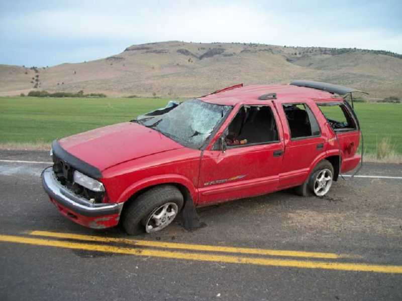 by: PHOTO COURTESY OF OREGON STATE POLICE - Three teens, from Idaho and California, were injured in an early morning accident on U.S. Highway 97 May 15.
