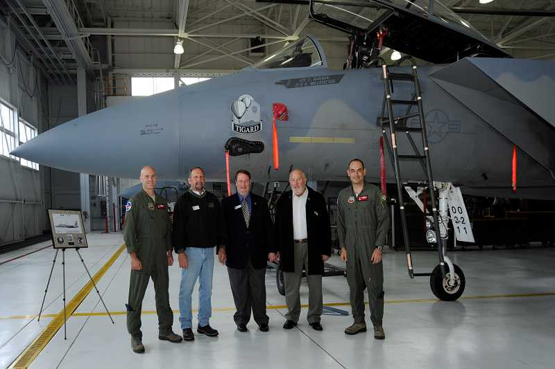 by: SUBMITTED PHOTO - Left to right, Oregon Air National Guard Lt. Col. Christopher Barber, Michael Lueck, Tigard Mayor John L. Cook, City Councilor Marland Henderson and Col. Matthew Schuster, during a ceremony at the Portland Air National Guard Base last week