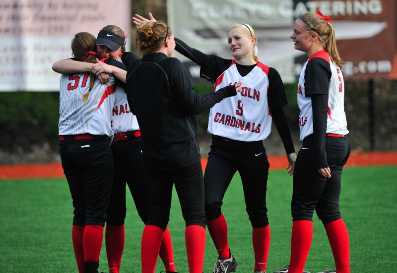 by: COURTESY OF JOHN LARIVIERE - Lincoln softball players (from left) Laken Gobel, Jenna Stanford, Courtney Huston, Morgan Ashton and Elana Schaefer, all seniors, get together moments after the Cardinals' 2-0 loss to No. 1 North Medford in Tuesday's Class 6A semifinals.