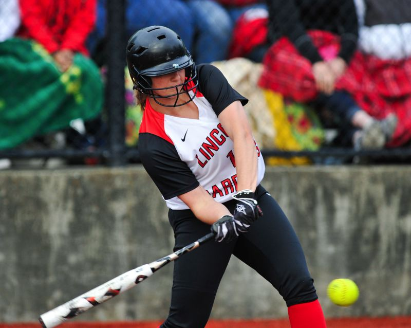 by: COURTESY OF JOHN LARIVIERE - Lincoln High senior Jenna Stanford takes a swing at Maryssa Becker pitch in the seventh inning of Tuesday's 2-0 Cardinals loss to North Medford.