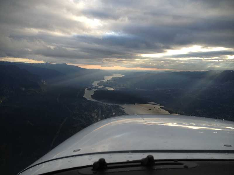 by: SUBMITTED PHOTO: RICK FARNBACH - Rick Farnbach saw this view of the Columbia River Gorge as he headed west toward the Portland metro area during the tail end of his cross-country flight.
