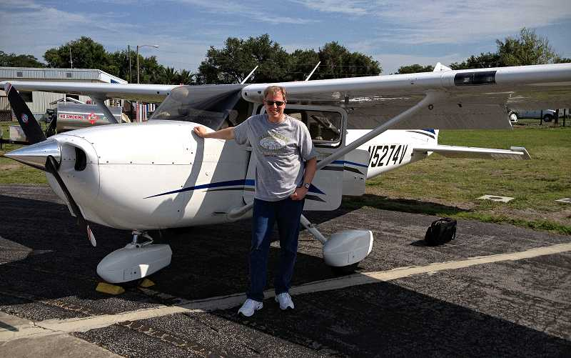 by: SUBMITTED PHOTO: RICK FARNBACH - West Linn resident and student pilot Rick Farnbach stands in front of his Cessna 172, which carried him from Florida back to Oregon during a recent cross-country trip.