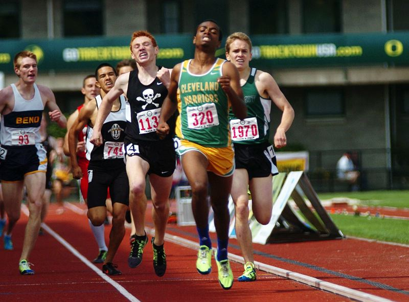 by: PAMPLIN MEDIA GROUP: DAN BROOD - Roba Sultessa of Cleveland High holds off a pack of challengers down the stretch to win the Class 5A 800-meter state title at Hayward Field.