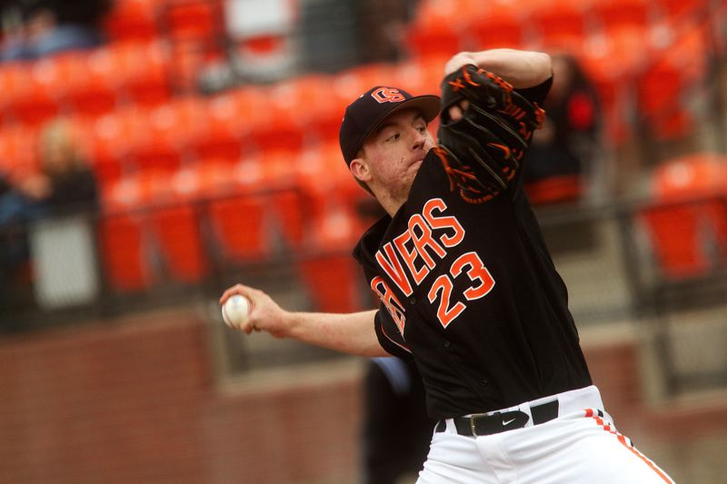 by: COURTESY OF ETHAN ERICKSON - Andrew Moore's pitching helped Oregon State get past Cal Santa Barbara 3-2 on Saturday in the NCAA baseball regionals.