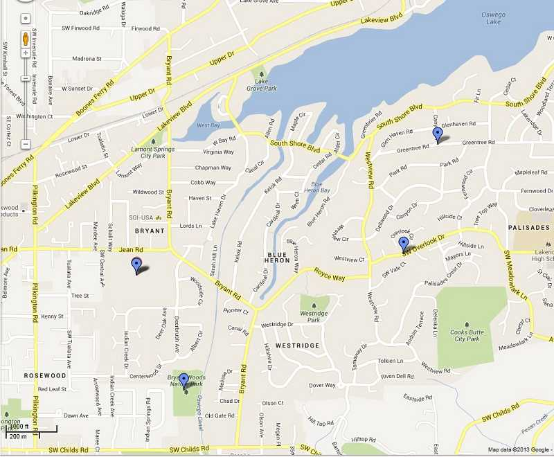 by: COURTESY OF GOOGLE MAPS - Pins show areas where at least four recent cougar sightings have been reported in Lake Oswego.