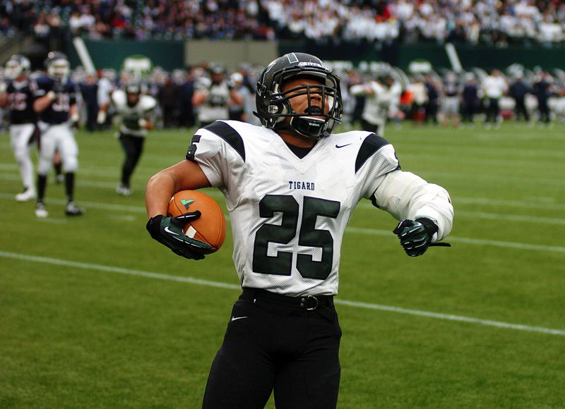 by: DAN BROOD - ALL-STAR TIGER -- Kaz Greene, a 2013 Tigard High School graduate, is one of three Tigers that will be playing for the South squad at the Les Schwab Bowl, which will be held Saturday at Hillsboro Stadium.