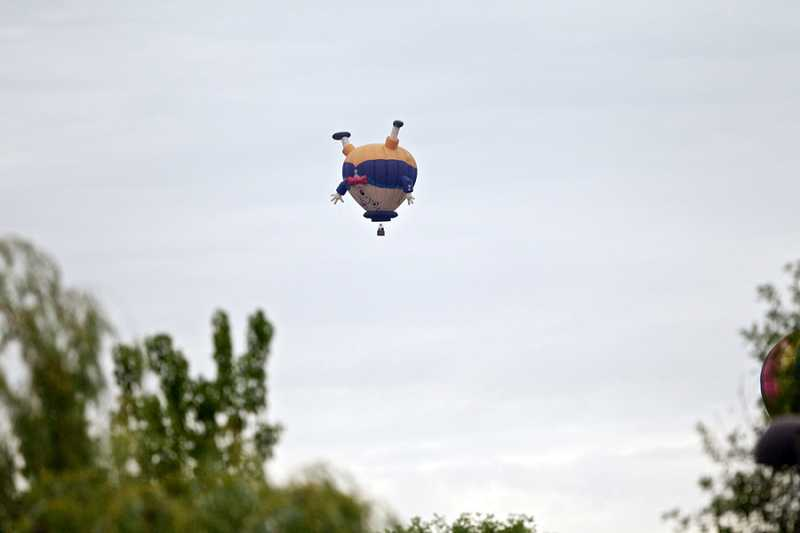 by: JAIME VALDEZ - Humpty Dumpty floated above Tualatin, Friday as Jeff Haliczer's balloon 'Off the Wall' takes flight. The festival features several specialy shaped balloons including Pepe Le Pew and a Flying Purple People Eater.