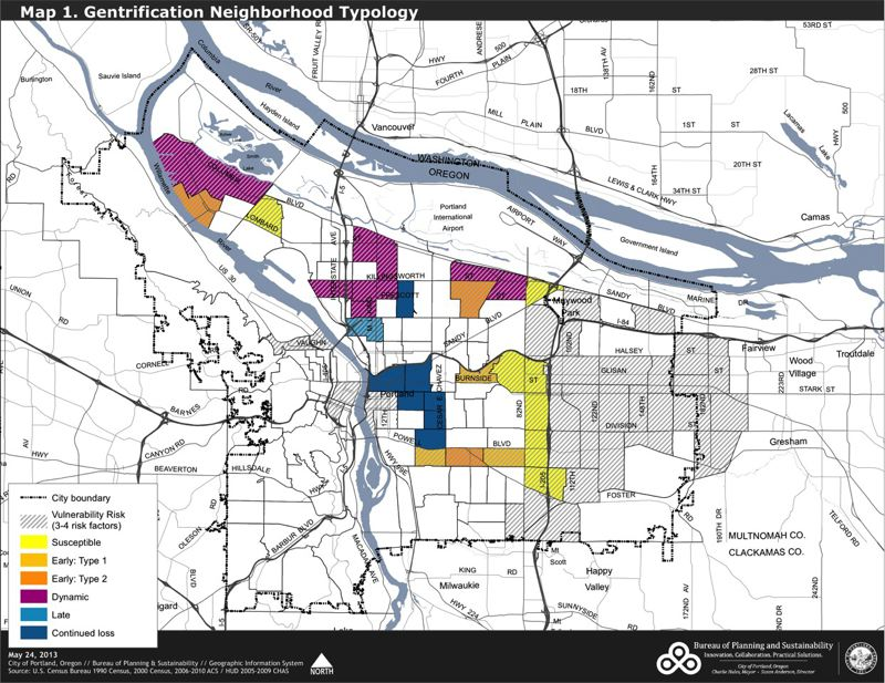 by: COURTESY OF THE CITY OF PORTLAND - A map included in a new city report shows neighborhoods that have been gentrified, or are in danger of gentrification.