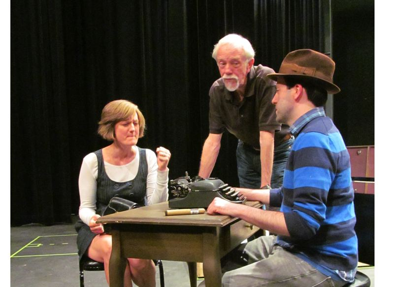 by: PHOTO: DICK TRTEK - A dramatic scene from 'Harvey' unfolds. Pictured left to right are Amanda Valley, Tobias Andersen and Jayson Shanafelt.