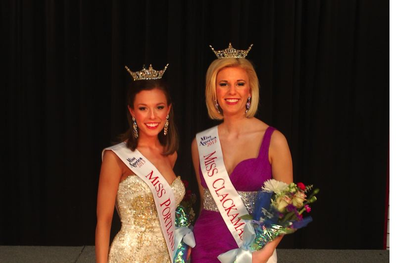 by: PHOTO BY: WENDY TAUNTON - Rebecca, left, and Malea Anderson will compete this weekend in the Miss Oregon Pageant.