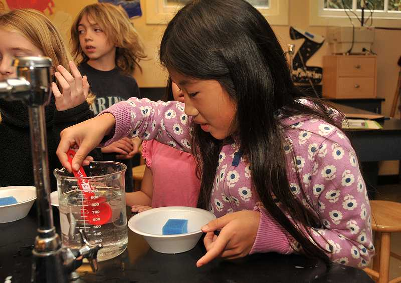 by: REVIEW PHOTO: VERN UYETAKE - Josephine Courtney prepares a chemistry experiment in which crystals are formed during Saturday Academys sixth annual summer session at Riverdale High School.