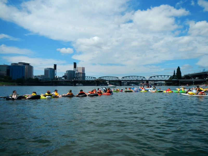 by: COURTESY OF HUMAN ACCESS PROJECT - An attempt to set the world record for Most People in a Floating Line on the Willamette River came up short last year. This years World Float has been set up to break the record of 542, set in Italy in 2008.