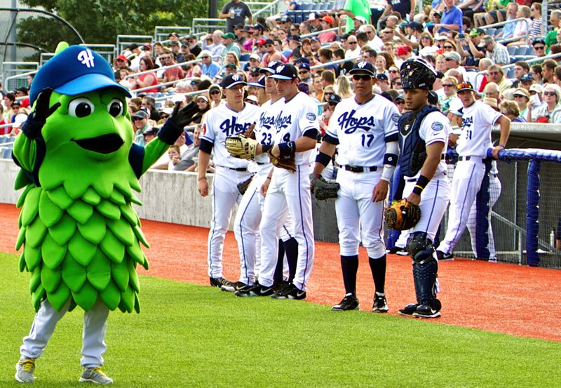 by: COURTESY OF HILLSBORO HOPS - Barley, the new Hillsboro Hops mascot, works the crowd at his debut during Friday night's game against the visiting Salem-Keizer Volcanoes.