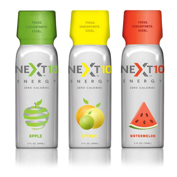 by: SUBMITTED PHOTO - Next10 Energy drinks, created by Tualatin-based neurosurgeon Dr. Warren Roberts, debuted in November 2012 and currently come in three flavors.