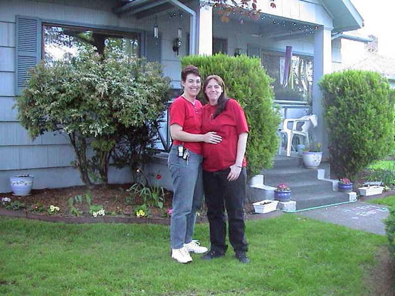by: COURTESY PHOTOS - Together for 12 years, Sherri and Holly Vann were legally married in Canada in 2003 because Oregon does not recognize same-sex marriage. Here, they pose outdoors a day before Holly gave birth to their oldest daughter, Jordan.