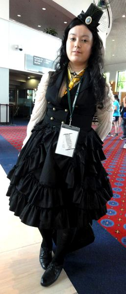 by: COURTESY OF JOSEPH GALLIVAN - Apsara Quefig from Vancouver, B.C., attended Portland's LeakyCon dressed as a Lolita steampunk Hufflepuff.