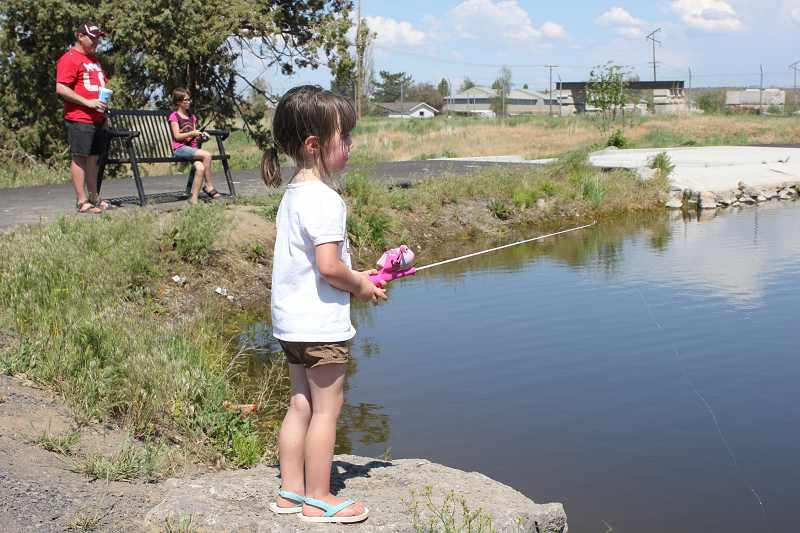 Kids can fish at the stocked youth pond next to the fairgrounds.