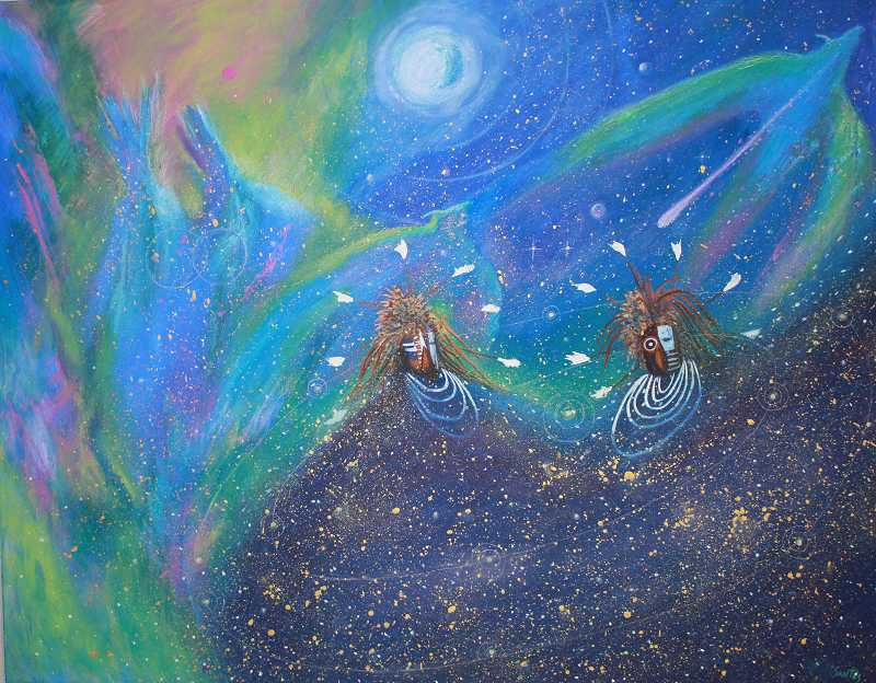 Apolonia Susan Santos' painting 'The Wish Upon A Falling Star' is part of the gallery exhibit.