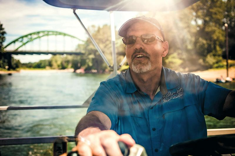 by: TRIBUNE PHOTO: NICK FOCHTMAN - Willamette Jet Boat Capt. Andy Mass leads a breathtaking and informative Discovery Cruise tour on the Clackamas and Willamette rivers.