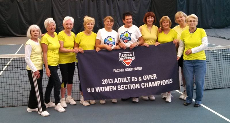 by: SUBMITTED - Clackamas River Racquet Clubs 65-and-over womens team won first place at the recent USTA Pacific Northwest Sectional. Pictured following their championship match are (left to right): Sharon Arendes (Lake Oswego), Sue Stone (Portland), Pat Chapman (Oregon City), Dody Lang (Portland), Kathy Cooper (Milwaukie), Julia Earl (Tigard), Dinah Adkins (Portland), Donna Kisler (Oregon City), Marcie Smith (Molalla) and Jackie Wilken (Milwaukie).
