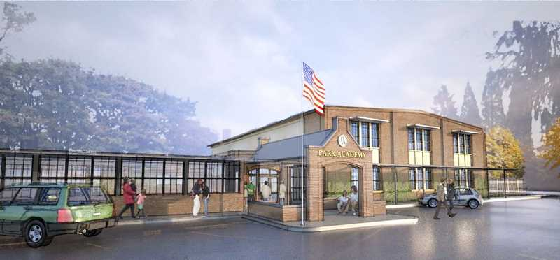 by: SUBMITTED - This rendering shows Park Academy's plans for freshening up the facade of the vacant armory building on the north side of South Shore Boulevard.